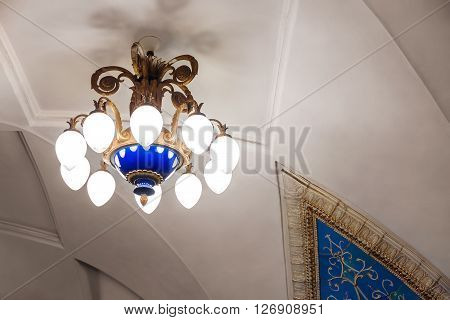 MOSCOW - MARCH 3: Chandelier in Taganskaya metro station on March 3 2016 in Moscow. The station is named after the Taganka Square which is a major junction of the Sadovoye Koltso.