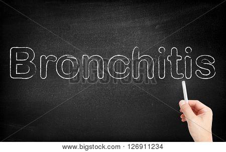 Bronchitis written on white blackboard