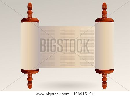 torah with abstract text. ancient scroll paper