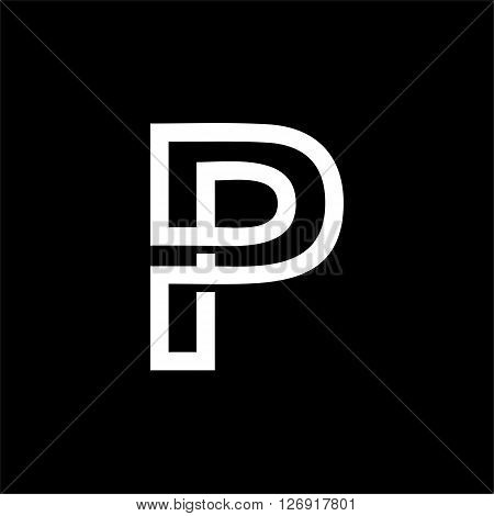 Capital letter P. From the white interwoven strips on a black background. Template for emblem, logos and monograms.