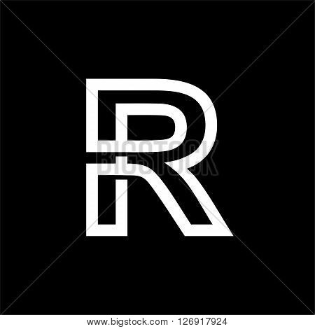 Capital letter R. From the white interwoven strips on a black background. Template for emblem, logos and monograms.
