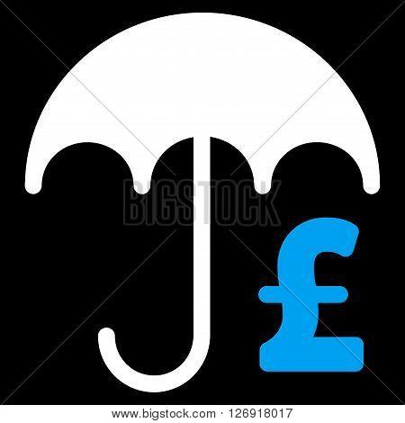 Pound Financial Umbrella vector icon. Pound Financial Umbrella icon symbol. Pound Financial Umbrella icon image. Pound Financial Umbrella icon picture. Pound Financial Umbrella pictogram.