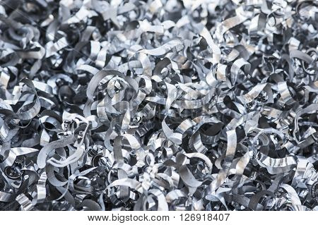 A Close-up of heap of aluminum swarfs