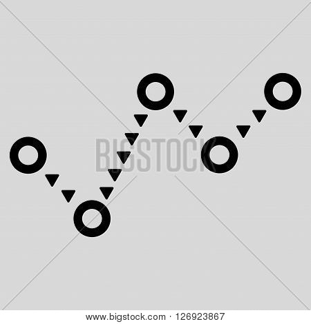 Dotted Trend vector icon. Dotted Trend icon symbol. Dotted Trend icon image. Dotted Trend icon picture. Dotted Trend pictogram. Flat black dotted trend icon. Isolated dotted trend icon graphic.
