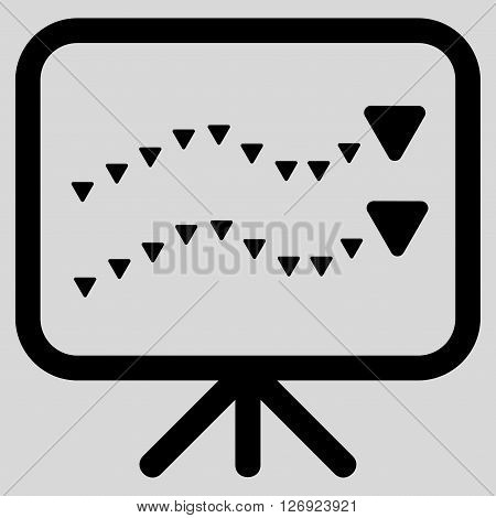 Dotted Trends Board vector icon. Dotted Trends Board icon symbol. Dotted Trends Board icon image. Dotted Trends Board icon picture. Dotted Trends Board pictogram. Flat black dotted trends board icon.
