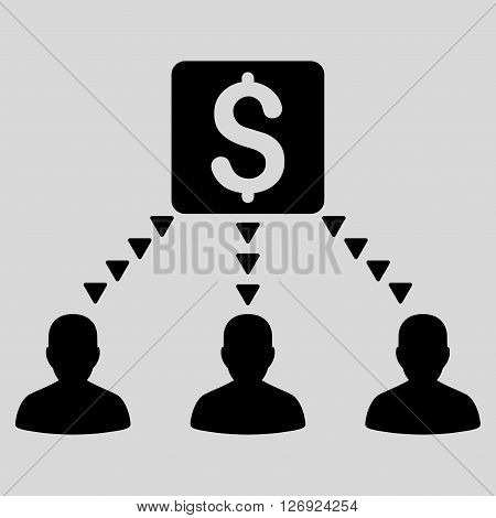 Money Recipients vector icon. Money Recipients icon symbol. Money Recipients icon image. Money Recipients icon picture. Money Recipients pictogram. Flat black money recipients icon.