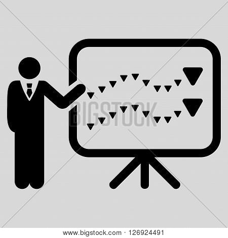 Trends Presentation vector icon. Trends Presentation icon symbol. Trends Presentation icon image. Trends Presentation icon picture. Trends Presentation pictogram. Flat black trends presentation icon.