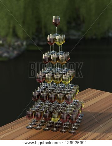 Tasting wine with palette in the form of a pyramid of red roze and white wines in glasses on the wooden table. The glasses are on top of each other.