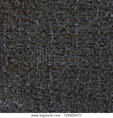 Graphite grey woven woolen fabric texture. Complicated melange. Close up fragment of the top view.