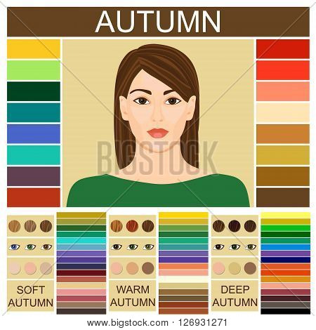 Stock vector set of three autumn types of female appearance. Face of young woman. Seasonal color analysis palette for soft, warm and deep autumn