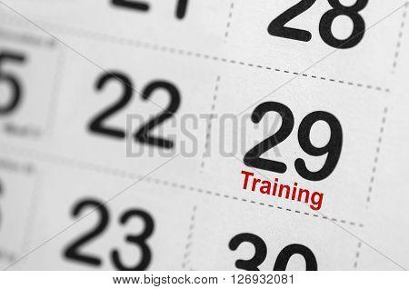 Close up of Training text reminder on calendar
