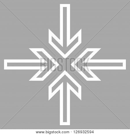 Implode Arrows vector icon. Style is thin line icon symbol, white color, silver background.