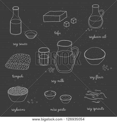 Hand drawn outline soy foods on the blackboard. Soy sauce, oil, milk, flour, sprouts, miso paste, soybeans, tempeh. Japanese soy products. Healthy diet concept.