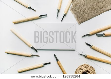 gravers tools over sharpening object, clipping path on white background