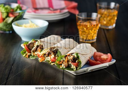 Bbq Chicken With Fresh Salad Tortilla Wraps