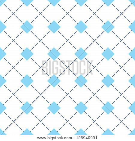 Rhomb vector seamless pattern. Geometric seamless texture with blue rhombs and diagonal perpendicular dashed lines on white background. EPS8 vector illustration. Pattern swatch included.