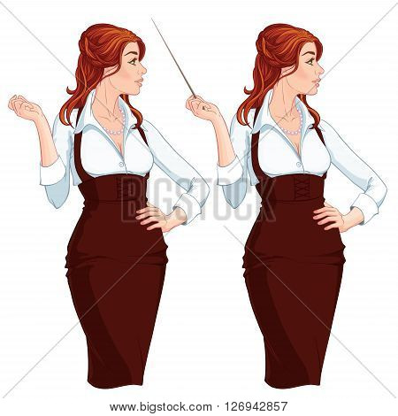 Vector Illustration. Beautiful young business woman presenting something. Isolated on white background