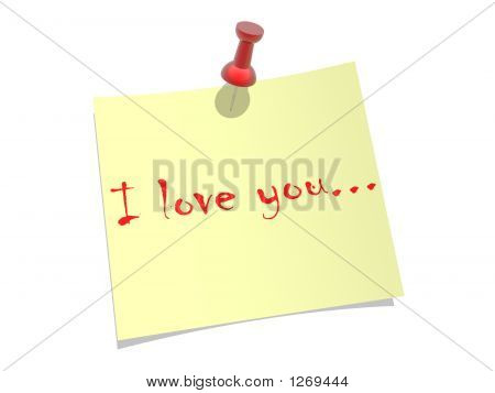 "yellow paper pinned to a white background with inscription ""i love you"" poster"