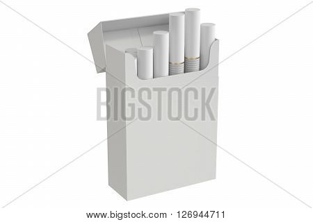 Pack of cigarettes 3D rendering isolated on white background