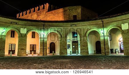 The central square of Mondaino (Rimini), Italy