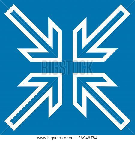 Implode Arrows vector icon. Style is contour icon symbol, white color, blue background.