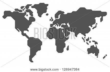 Stylized world map. Modern flat vector illustration.