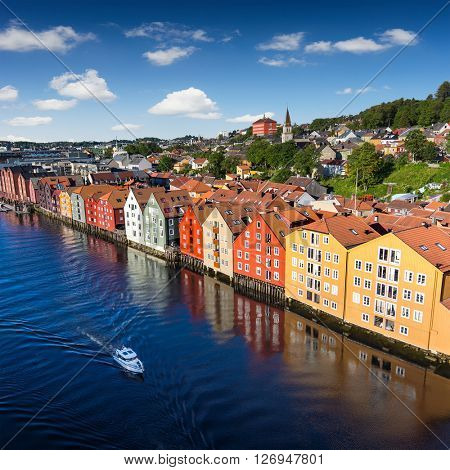 Cityscape of Trondheim, Norway river building on wood