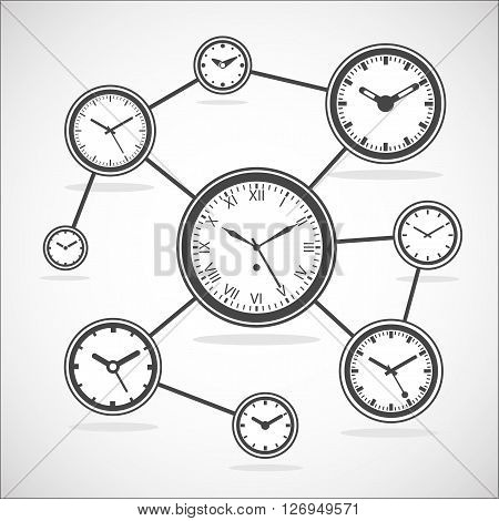 Time synchronization diagram. Clock sync. Internet time connection scheme. - Outline Isolated Vector Illustration. Simplified Lines Design.