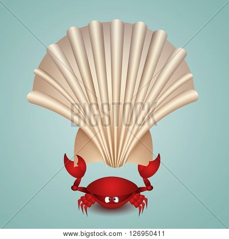 an illustration of funny Crab with shell