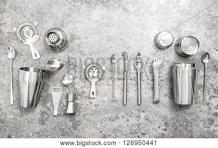 Bar accessories and tools for making cocktail. Shaker jigger strainer spoon. Food and beverages poster