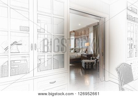 Sketch Design Of  Luxury Bedroom
