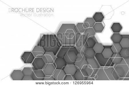 Abstract black hexagon. Vector Illustration. Clip- art