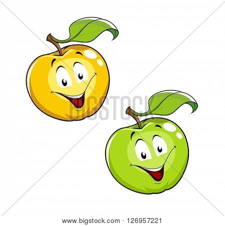 Cartoon Ripe fresh apple with leaf. Set of vector illustration. Isolated white background. Smiling Character Red apple. Green fruits. Healthy food