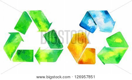 Watercolor green recycle icon and watercolore recycled water icon. Hand drawn recycle and recycled water sign.