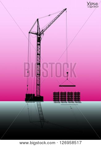 High detailed vector hoisting crane with reflection lifting a load on rose background. Vector illustration