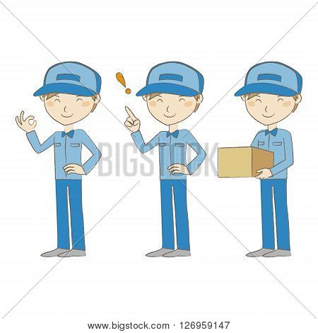 Delivery man in blue uniform with different poses
