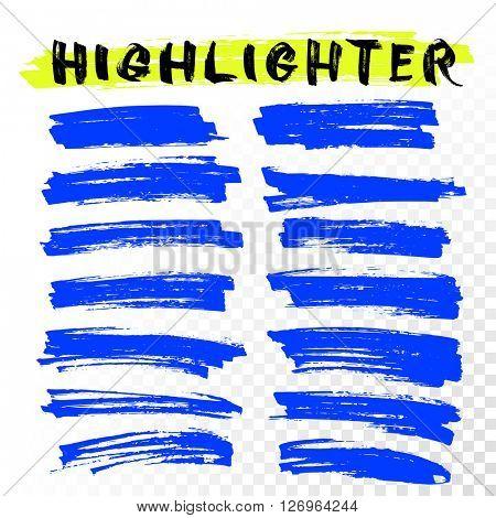 Blue Highlighter Marker Strokes.