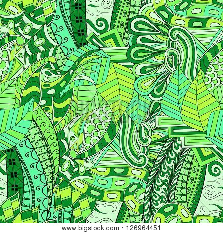 Tracery Seamless Calming Pattern. Mehendi Design. Neat Even Green Harmonious Doodle Texture. Algae S