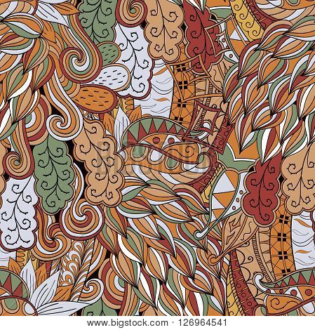 Tracery Seamless Calming Pattern. Mehendi Design. Neat Even Colorful Brown Harmonious Doodle Texture