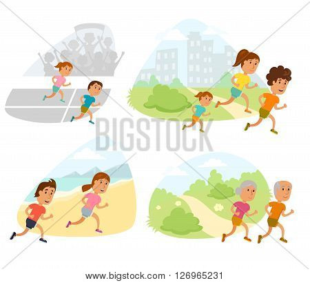 Run family, old couple and child. Healthy lifestyle illustration. Woman's, man and child jogging. Runners people. Activity and sport. Fitness concept. Runners family: mom, dad and children run outdoor