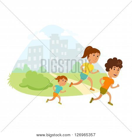 Run family. Healthy lifestyle illustration. Woman, man and child jogging. Runners family in city park. Activity and sport for young parent and baby. Fitness concept. Family: mom, dad and children run.