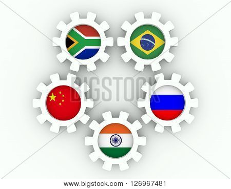BRICS - association of five major emerging national economies members flags on cog wheels. Trade union. Global teamwork. White background