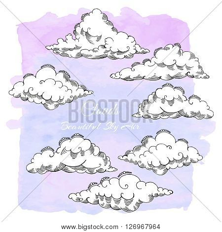 Background with clouds sketches. Hand drawn sky vector illustration