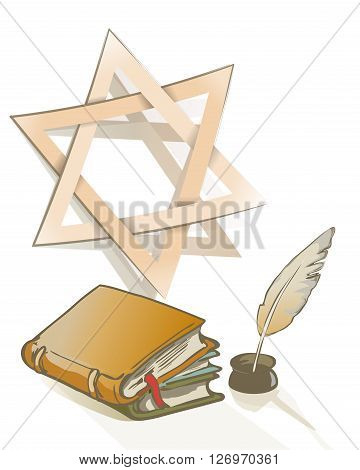 Ancient book and feather and Star of David sign as Judaic symbol on religion an knowledge theme. vector drawing illustration