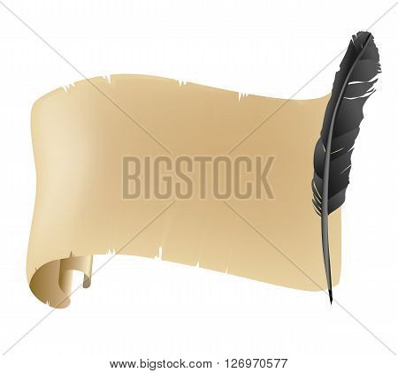 Ancient and old scroll and black feather background on white. vector illustration