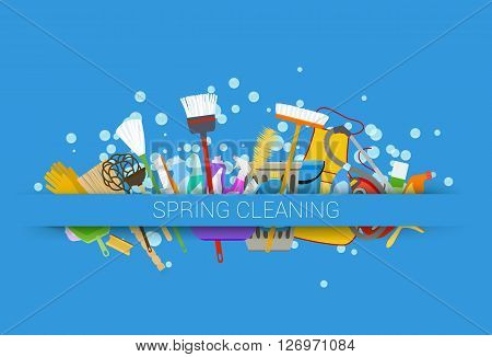 spring cleaning supplies blue background. tools of housecleaning with soap bubbles. vector illustration