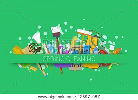 spring cleaning supplies green background. tools of housecleaning with soap bubbles. vector illustration