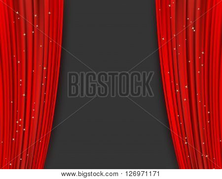 red theater curtains with glitter. abstract background with opera red drapes and glittering stars. horizontal vector illustration