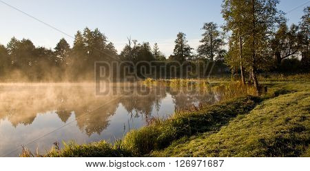Early morning fog over calm water of pondBialowiezaPalace parkPolandEurope