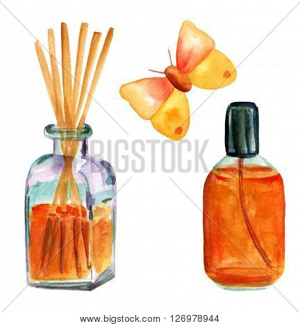 Wellness set: watercolor bottle with aroma sticks (reed diffusers) a spray bottle with perfume and a butterfly hand painted on white background